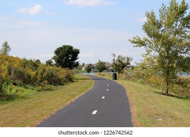 The winding blacktop pathway in the park on a bright sunny day.
