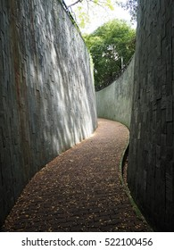 Winding corridor at fort canning park in Singapore