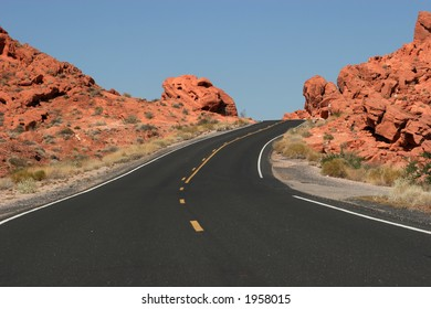 Winding desert highway