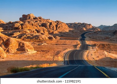 Winding desert road in Wadi Rum, Jordan