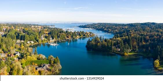 Winding Harbor Aerial View of Bainbridge Island Mt Rainier Seattle