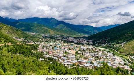 The winding hill road and aerial view of Thimphu city in Bhutan - Thimphu is the capital and largest city of Bhutan.