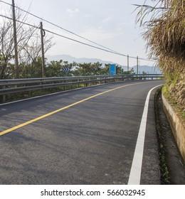 Winding lake  road