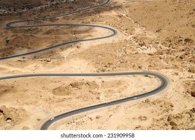 Winding mountain road from Al Mukalla to Aden, Yemen.