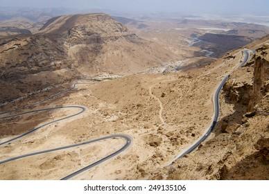 Winding mountain road from Al Mukalla to Aden in Yemen.