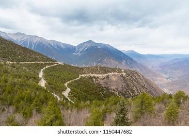 winding mountain road, sky way in tibet plateau