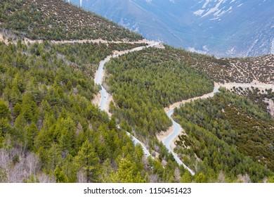 winding mountain road, sky way closeup in tibet plateau