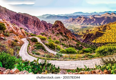 Winding mountain trail among red rocks. Mountain trail view. Trail in mountains