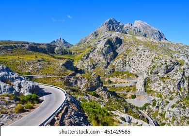 Winding narrow mountain road to Sa Calobra on the island of Majorca in Spain