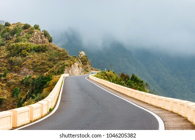 Winding and narrow road in Anaga Mountains, Tenerife, Spain