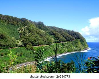 Winding nature of the Road to Hana, Maui, Hawaii