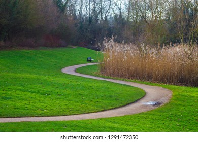 Winding path with bench