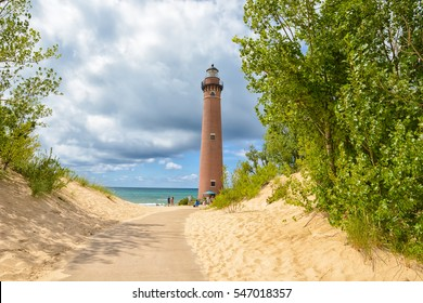 A winding path leads to the Little Sable Point Lighthouse which stands guard on the eastern shores of Lake Michigan