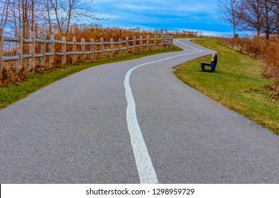 Winding path at Paradise Beach & Park in Ajax, ON Canada