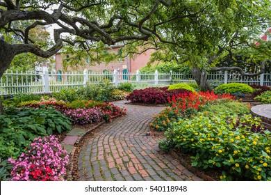 Winding pathway through beautiful garden in Portsmouth