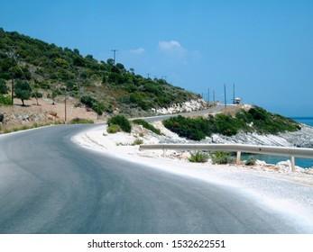 Winding road along the coast of Zakynthos Island, Greece, Europe