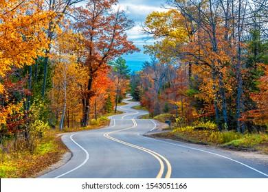 Winding Road at Autumn in Door County of Wisconsin