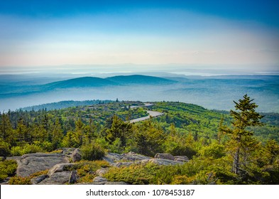 Winding Road Up to Cadillac Mountain in Acadia National Park Maine