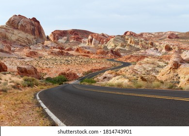 Winding road in colorful desert landscape, Valley of Fire State Park, NV.