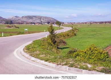 Winding road in the countryside of Bosnia and Herzegovina (Republika Srpska, near village of Grab)