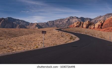 A winding road in a desert