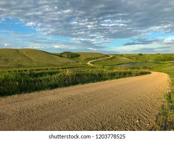 Winding road down Loon Creek valley near Markinch, Saskatchewan