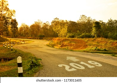 Winding road forward to new year 2019. Concept for success and future.