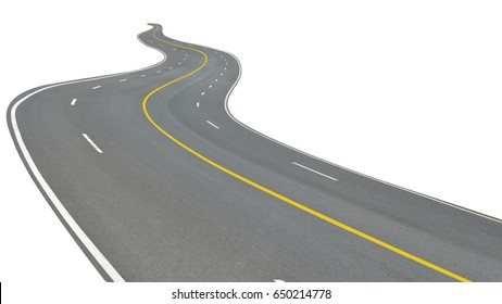 Winding road four lane with yellow line for two way separate direction isolated on white background. This has clipping path.