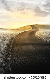 winding road at frosty morning with sunrise, sympathy background
