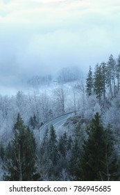 A winding road in a frozen forest. View from above.