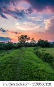 Winding road going through the field with colorful sunset sky above