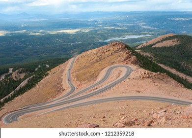 A winding road leading down from Pikes Peak in Colorado Springs.
