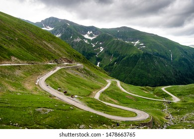 Winding road in a mountain pass in the Carpathian Mountains, Transfagarasan (Romania).