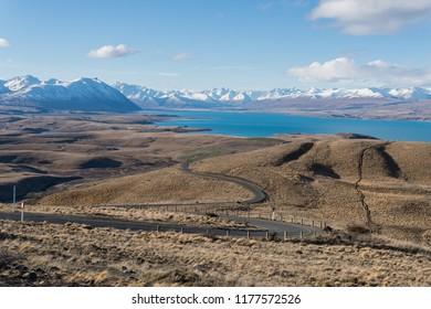 Winding road and mountains near Lake Tekapo