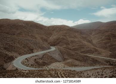 Winding road to San Antonio de los Cobres in Salta Province, Argentina