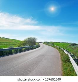 winding road in sardinian countryside