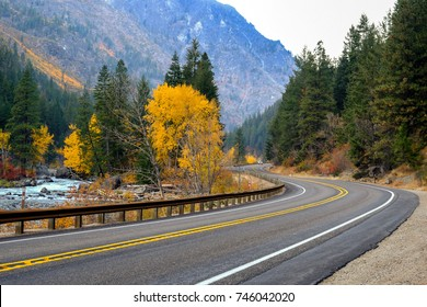 Winding Road through Fall Colors in Washington State