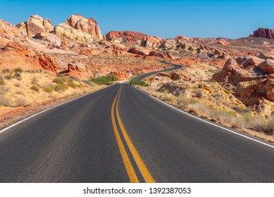 Winding road through Valley of Fire, Nevada, USA