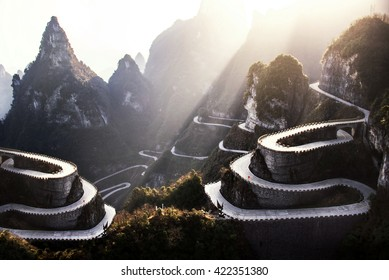 The winding road of Tianmen mountain national park, Hunan province, China