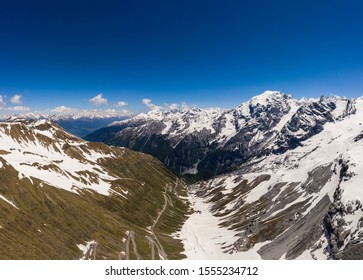 Winding road at the top of the Stelvio pass in the alps near Bormio in Italy