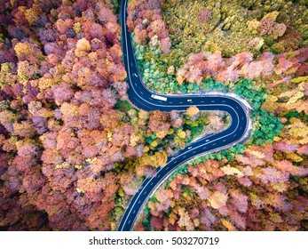 Winding road trough the forest. Hi mountain pass in Transylvania, Romania. Aerial view from a drone.