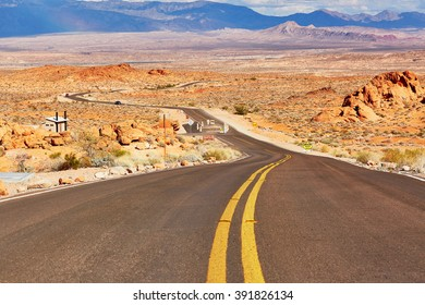 Winding road in Valley of the Fire national park in Nevada, USA