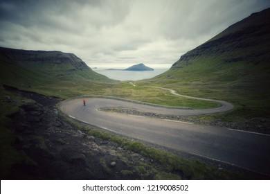 Winding roads and beautiful landscape on Faroe Islands