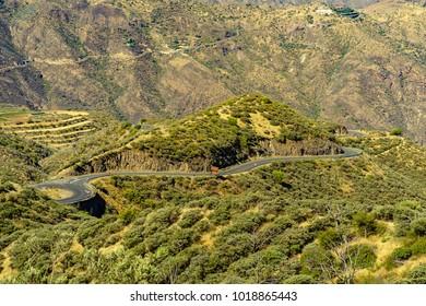Winding roads near Cruz de Tejeda, Gran Canaria