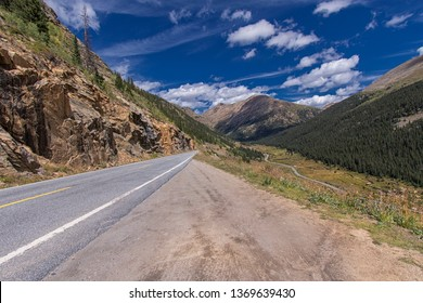 Winding roads through High Mountain pass in Colorado, Rocky Mountains national Park, USA