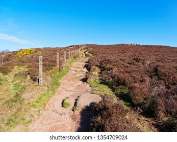 A winding, rugged footpath climbs gently to the top of Surprise View in the DerbyshirePeak District.