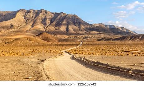 Winding rural Dirty Road Across Volcanic Landscape in Fuerteventura at Golden Hour