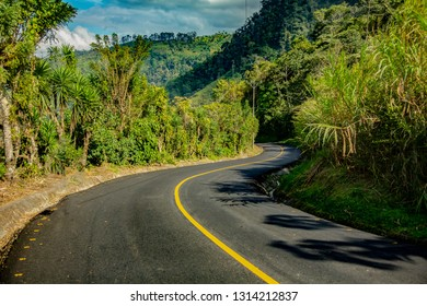 a winding rural road near San Jernonimo, Costa Rica