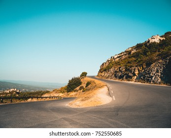 Winding Serpentine Road in beautiful landscape at Cap Canaille, France.