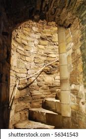 Winding stone stairway inside Trim Castle Ireland